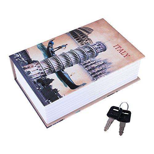 Especificación: Estado: Nuevo Material: tablero de papel especial y metal Dimensiones: Aprox. 18 x 11,5 x 5,5 cm / 7,09 x 4,53 x 2,17 pulgadas Peso neto: Aprox. 500g  Paquete incluido: 1 x Caja de seguridad 2 xllaves Tenga en cuenta: 1. Permita err...