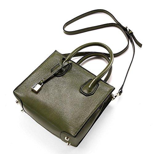Mena Uk Sacchetto di spalla delle donne eleganti della borsa di cuoio di modo Grass Green