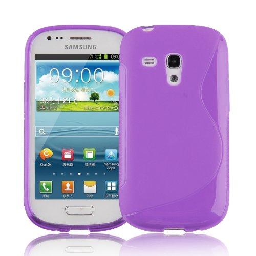 Cadorabo Samsung Galaxy S3 Mini Custodia Silicone TPU Disegno S in Lila Orchidea Morbida Cover Protettiva Super Sottile con Bordo Protezione Back Case Ultra Slim Gel Bumper Fina Antiurto Guscio