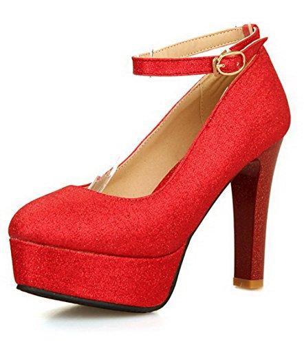 Rosso Tallone Luce Pattini Materiale Donna Solido Rotondo Colore Misto Voguezone009 Dell'inarcamento U8zBv
