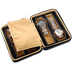Campione Collections - Travel Box for Watches, Space for 4 Watches, Made of Eco-Leather, Black