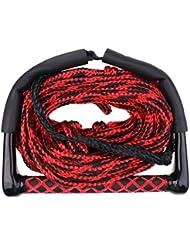 MagiDeal 23M 10mm Cuerda de Wakeboard de Esquí Acuático Con Mango de Agarre Correa de Esqui - Rojo negro