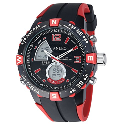 ANLEO-1PCS-Red-Dual-Time-Watch-Outdoor-Sports-Watches-Men-Military-Watches-Digital-Quartz-Men-LED-Watch
