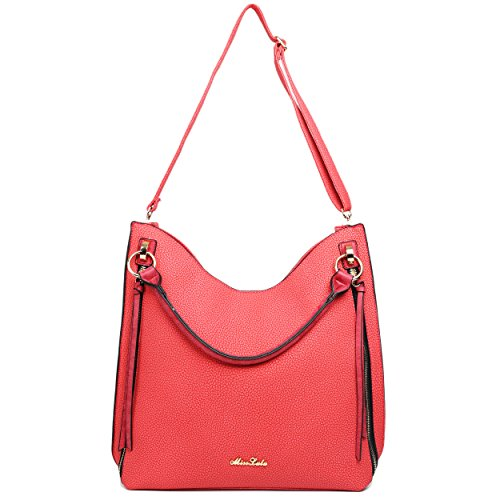 Miss Lulu in pelle effetto nappa Hobo Borsa A Tracolla Red