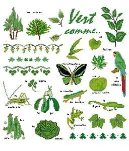 broderie vert comme à broder au point de croix sur toile aida 7.1 collection planète mauve