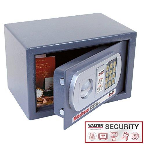WALTER Möbeltresor mit elektronischem Zahlenschloss und Doppelbolzen-Sicherheitsschloss, 200x310x200 mm, 6,6 kg (Elektronisches Sicherheitsschloss)