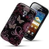 Etui de créateur pour Samsung Galaxy Ace 2 i8160 - Etui / Coque / Housse de protection noir en TPU/gel/silicone avec motif fleurs roses et papillons