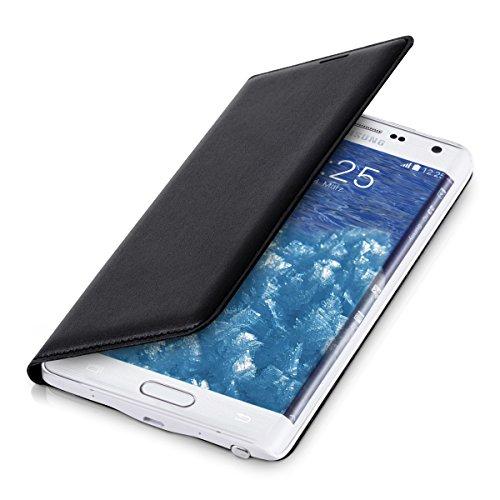 kwmobile Funda con Tapa para Samsung Galaxy Note Edge en Negro con Recubrimiento de Cuero sintético