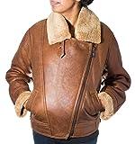 A to Z Leather Mujeres del Camello de Brown Aviador Bombardero de Piel de Oveja, Cuero, Capa de la Cremallera del Vuelo del Motorista