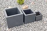 Pflanzkübel Blumenkübel Kubus 3er Set schwarz anthrazit quadratisch Kunststoff
