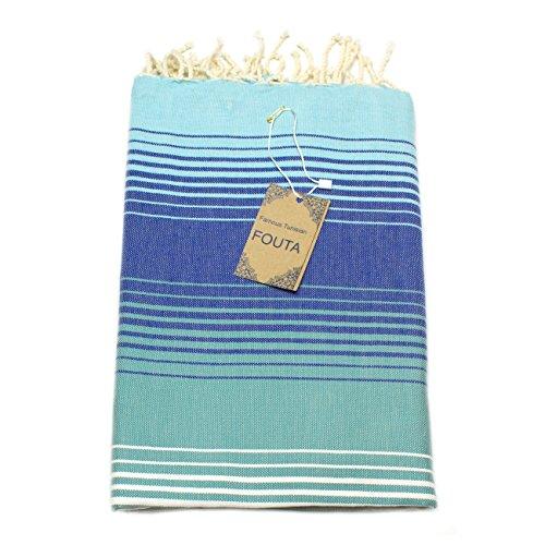 Fouta Hamam-Tuch Sauna-Tuch Pestemal XXL Extra Groß 197 x 100cm - 100% Baumwolle aus Tunesien als Strand-Tuch, für Bad, Picnic, Yoga, Schal (Orientalisches Türkisches Bade-Tuch) (Blau schattiert)