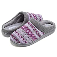 CIOR Fantiny Women's Memory Foam House Slippers Sweater Knit Embroidered Pattern and Ribbed Hand-Knit Collar-U1MTW014-Purple-38-39