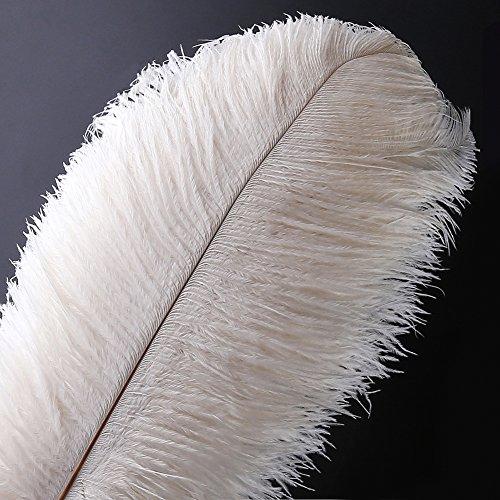 Natürliche Straußenfedern Handwerk 16-18 Zoll (40-45 cm) Plume für Hochzeit Mittelstücke Dekoration (Weiß) ()
