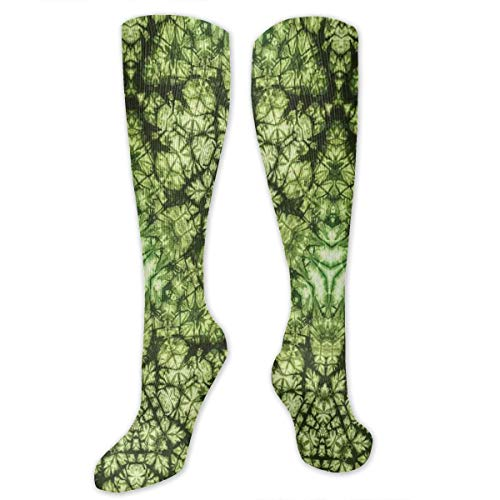 Unisex Highly Elastic Comfortable Knee High Length Tube Socks,Free Abstract Nature Inspired Mind Bind Folded Color Silhouette Counter Culture Artsy,Compression Socks Boost Stamina,Green - Free Motion Open Toe Foot