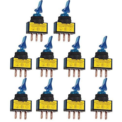 Mintice™ 10 X KFZ Auto Kippschalter Schalter Wippschalter 12V 20A Blau LED Licht Beleuchtet 3-Polig Pole EIN/AUS