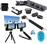 AFAITH 6in1 Kit ,Wireless Bluetooth Remote Camera Shutter Release Control + Extendable Self-portrait Telescopic Handheld Monopod + Adjustable Smartphone Adapter Phone Holder + Retractable Rotating Tripod Stand Mount Holder + Fish Eye Lens + Wide Angle Lens + Macro Lens for iPhone 7/ 7plus 6 plus/ 6,Samsung Galaxy S8 /S7 edge/S6 Edge ,Huawei P9/P10, HTC, Blackberry, Smartphones GP036L (Blue)