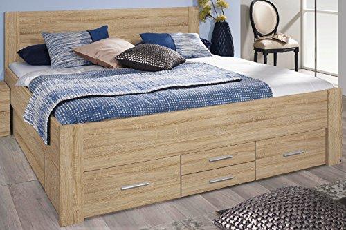 Rauch Bett mit 6 Schubkästen Eiche Sonoma 180 x 200 cm Schubladenbett Funktionsbett