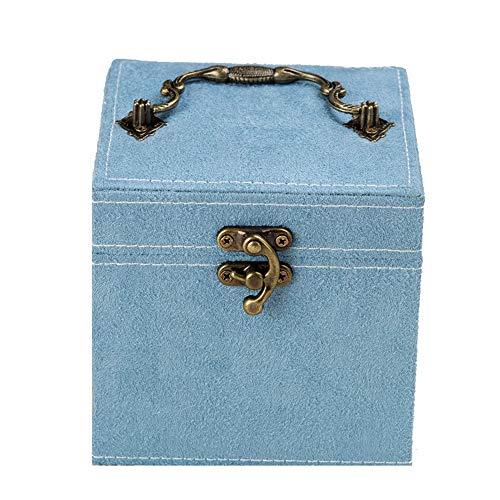 AZUO Jewelry Box-2 Lagen-Button und Magnetic Clasp-Large Mirror-Leder Design-Schwarz-Schmuckspeicher Box Für Damen und Mädchen,78,12 * 12 * 12CM