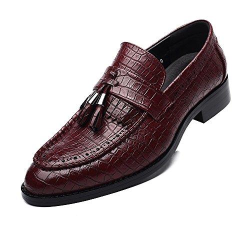 Sunny&baby scarpe da uomo in pelle pu pelle di serpente texture mocassini alti slip-on traspirante low top foderato oxford resistente all'abrasione ( color : wine , dimensione : 43 eu )