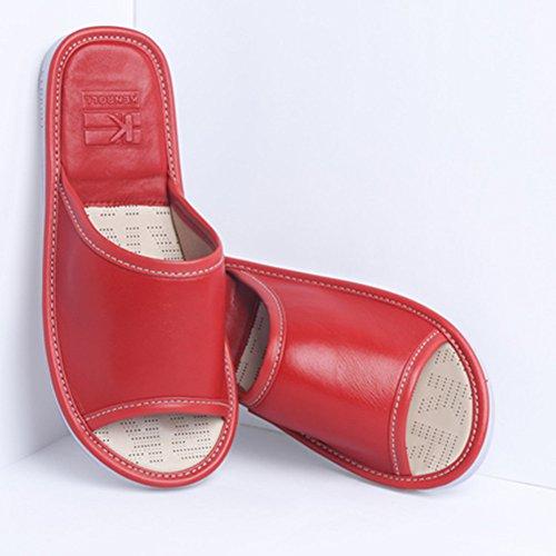 Pavimento Lusso Infradito Per Kenroll Rosse Pecora Sala Comodità 02 Donne Interna Gli Scarpe Uomini Di Vera Antiscivolo Pelle In Scarpe Di p1p8OBP