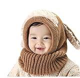 SevenPanda Enfants Casquette Manteau Tricot Capuche Cagoule hiver en laine tricotés chapeaux bébé des Filles Garçons Filles Bébé Cagoule En Laine Caude écharpe Casquettes Chapeaux Automne-hiver - Marron
