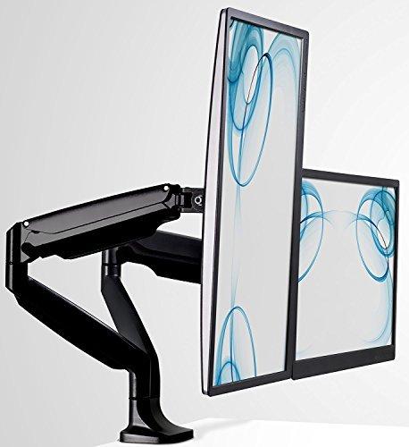 Mount-It. Monitor Tischhalterung, Computer Monitor Stand, höhenverstellbar Arm passt für bis zu 81,3cm Bildschirme, VESA 75x 75und 100x 100, 20lb Kapazität, schwarz (mi-1771) Dual Monitor schwarz -