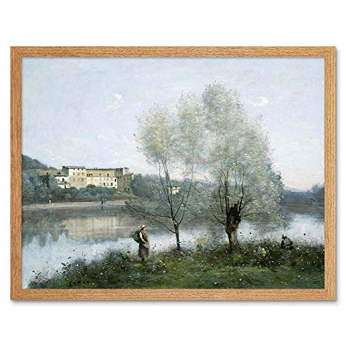 Wee Blue Coo LTD Camille Corot French Ville D'Avray Old Painting Art Print Framed Poster Wall Decor Kunstdruck Poster Wand-Dekor-12X16 Zoll