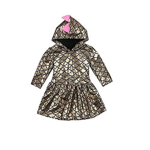 WangsCanis Drachen Dinosaurier Kostüme Kind Kleid Hoodie Langarm Fischschuppen Kleider für Baby Mädchen Fasching Karneval, Kleinkinder-Karnevalskostüme (4-5 - Drachen Kostüm Für Kind