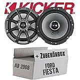 Kicker KS65-16cm Lautsprecher Boxen - Einbauset für Ford Fiesta MK7 Front Heck - JUST SOUND best choice for caraudio