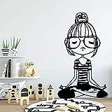 HNXDP New Yoga Girl Adesivo da parete in vinile Decorazioni per la casa Stecche per soggiorno Camera da letto Adesivo Murale Oro L 43 cm x 73 cm