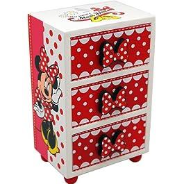 Disney 91007 – Minnie Portagioie in Legno con Tre Cassettini, in Confezione Regalo, 10x7x16 cm