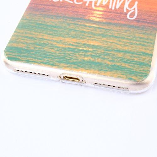 Qiaogle Telefon Case - Weiche TPU Case Silikon Schutzhülle Cover für Apple iPhone 7 (4.7 Zoll) - FX04 / Löwenzahn FX03 / Never Stop Dreaming