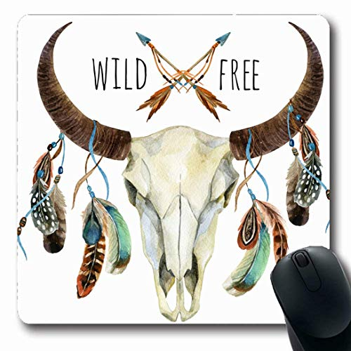 Luancrop Mousepads für Computer, die Aquarell-Boho-Kuh-Schädel-Federn-Büffel-Elch-Tier-Skelett-böhmisches Rotwild-Muster-rutschfeste längliche Spiel-Mausunterlage zeichnen -