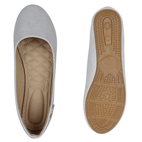 Klassische Damen Ballerinas Leder-Optik Flats Schuhe Übergrößen Flache Slipper Spitze Prints Strass Flandell Hellgrau