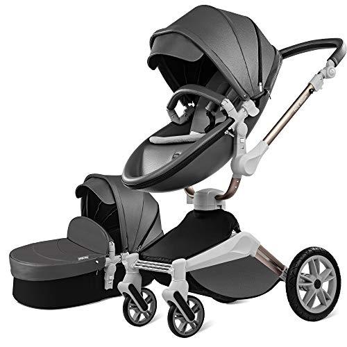 Kombikinderwagen 3 in 1 Funktion mit Buggy und Babywanne 2020 neues Design Drehung Kinderwagen - Dunkel Grau