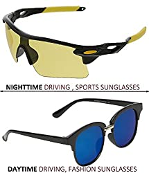 Vast Combo Of 2 All Day And Night Vision Biking, Driving And Sports Unisex Sunglasses (BLKYELLOW,BLKBLUE)