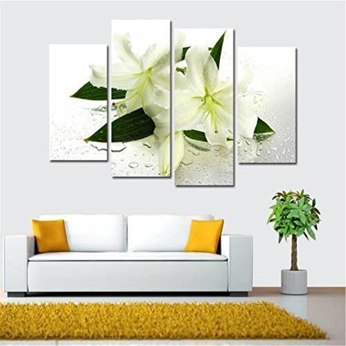 obella ungerahmt Art Wand Leinwand Bilder Drucke || 4Stück, Weiß Lily Flower || Poster Öl Gemälde Gedruckt Foto für Home Dekoration Elefant Karte Poster