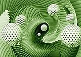 wandmotiv24 Carta da parati Sfere effetto 3D verde XXL 400 x 280 cm - 8 pezzi Murales, sfondi motivazionali, non tessuti Moderno, astratto, tunnel M1331