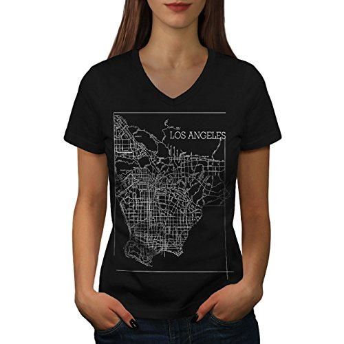 Wellcoda Los Angeles Map Fashion Womens V-Neck T-Shirt, Town Graphic Design Tee