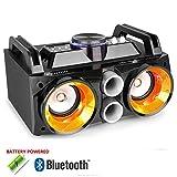 Fenton Battery Powered Portable Stereo Retro Ghetto Speaker with Bluetooth USB & Lights