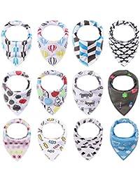 iZiv Baberos del Bebé - Paquete de 12 Diseños Pañuelo con Snaps Ajustables, TPU Impermeable Guarnición para niño 0-2 años