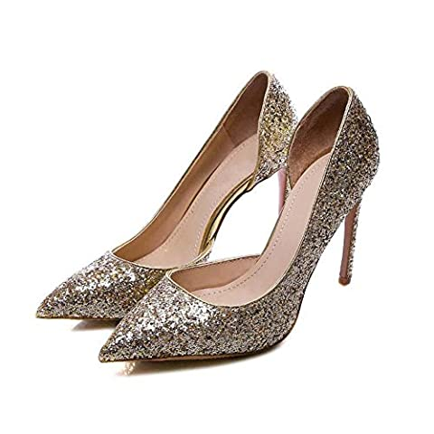 Onfly Femmes Sexy Pointe Toe Talons hauts Déesse Élégant Sequins Stylet Pompe Chaussures Mariage fête Tribunal Chaussures , gold 8.5 with high , 35