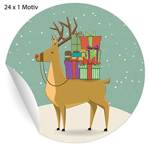 (24 Retro Weihnachts Aufkleber mit Rentier im Schnee und vielen Geschenken, blau grüne, MATTE universal Papieraufkleber für Weihnachts Geschenke, Etiketten für Tischdeko, Pakete, Briefe und mehr (ø 45mm)