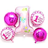 #5: AMFIN® (Pack Of 5) First Birthday Decoration Girl Combo / 1st Birthday decoration For Baby Girl / 1st Birthday Decoration Items / First Birthday Party Decoration / Foil Balloons for birthday decoration / Foil Balloons for Decoration / 1st Birthday Balloons / Baby Shower Party Decoration / Birthday Party / Baby Shower Decoration Material - Pink
