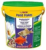 sera 07090 pond flakes 10 l - das lange schwimmende Flockenfutter für kleinere Teichfische