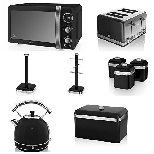 Swan Black Kitchen Appliance Retro Set Of 9 - Black Retro Digital Microwave, 20 Litre, 800 Watt, Black 1.7 Litre Dome Kettle & Black Retro Stylish 4 Slice Toaster, Retro Bread Bin, 3 Canisters, Towel Pole And 6 Mug Tree Set