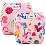 ALVABABY Swim Diapers 2pcs One Size Reuseable Washable 0-36 Months (Baby Girls) SW39-42