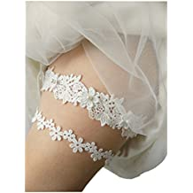 Lemandy vestidos de novia Garters boda pierna bandas boda Garters Liga de encaje para novia color marfil TD008