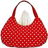 Kosmetiktuchboxbezug in Handtaschenform - Rot mit weißen Punkten - Handgemacht