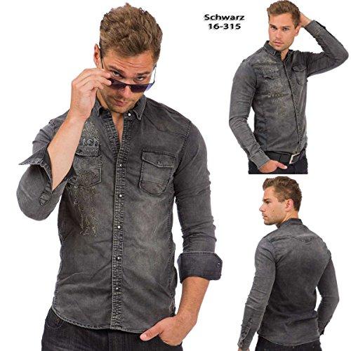 Tazzio Herren Jeans Hemd Denim Jeanshemd Hemden Herrenhemd Langarm Shirt Schwarz - 16-315